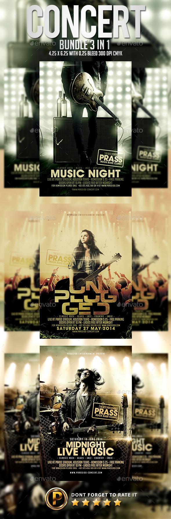 Concert Flyer Template - Bundle 3 in 1 - Concerts Events
