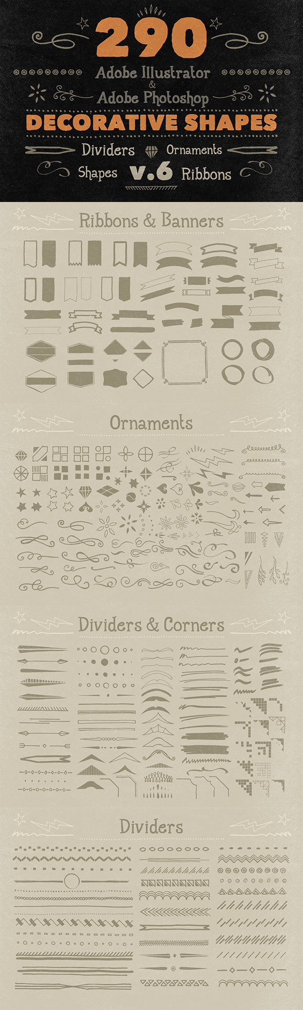 290 Handwritten Decorative Shapes 06 - Symbols Shapes