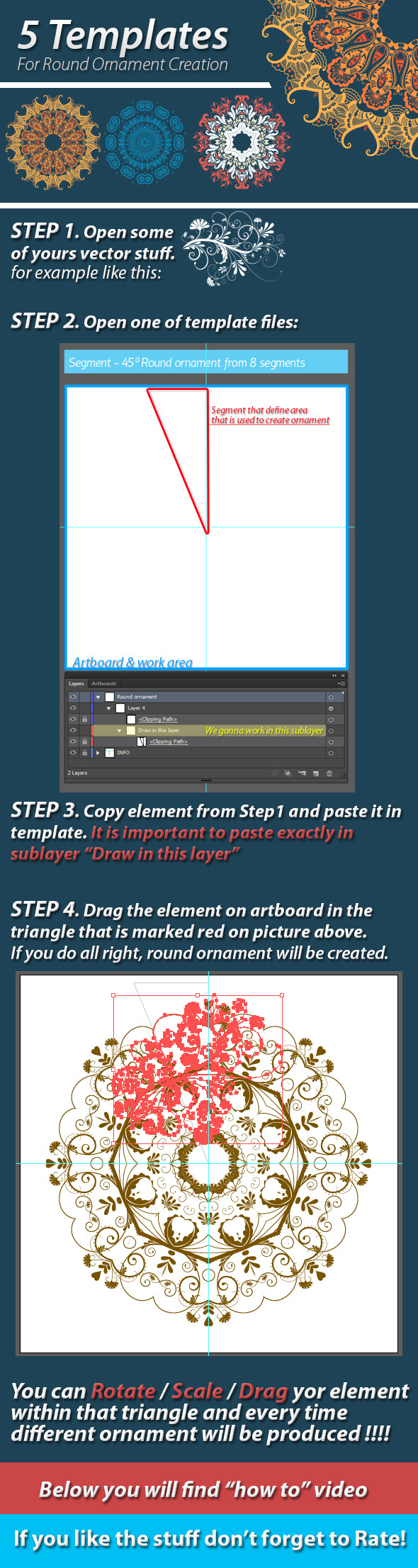 5 Templates For Round Ornament Creation - Actions Illustrator