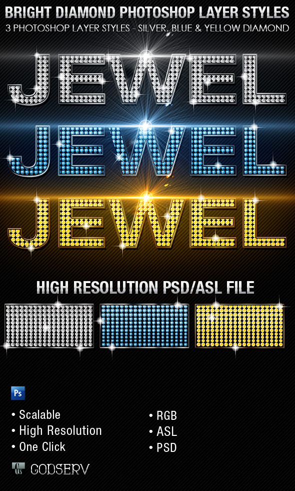 Bright Diamond Photoshop Layer Styles Vol 1 - Text Effects Styles