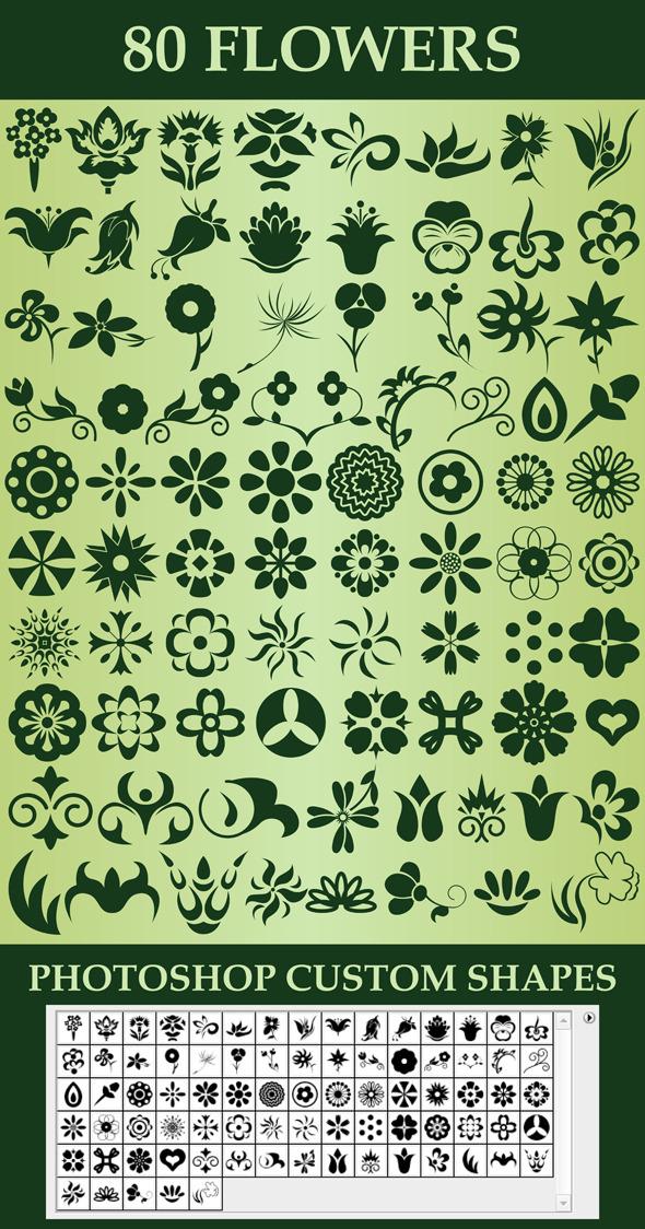 Flowers Custom Shapes - Symbols Shapes