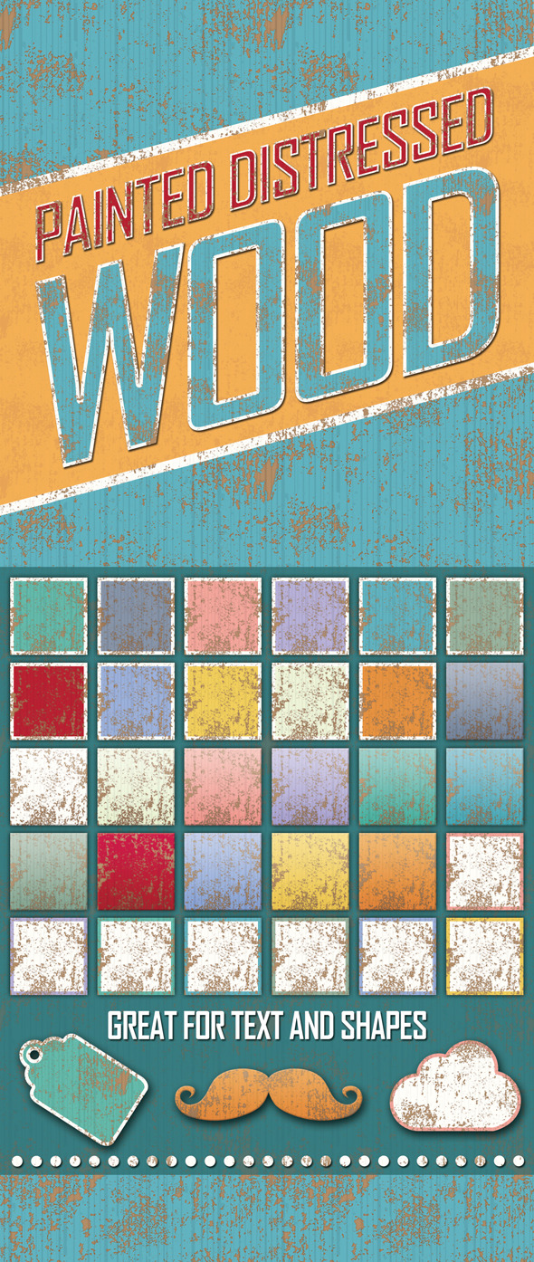 Distressed Painted Wooden Styles - Styles Photoshop