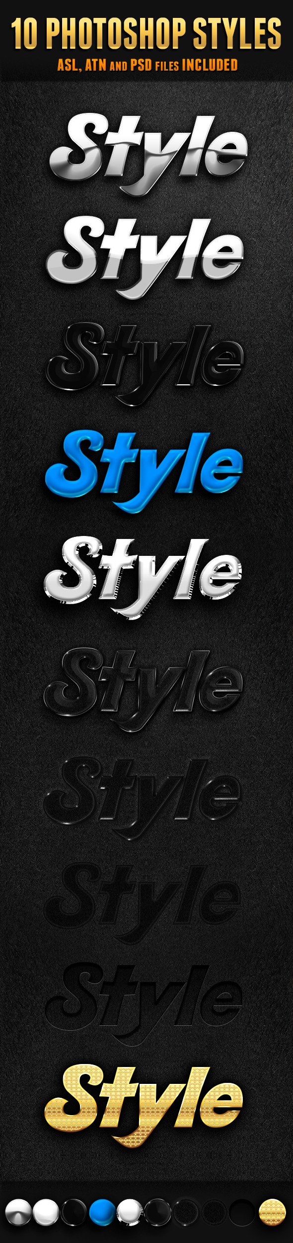 10 Photoshop Styles - Text Effects Styles