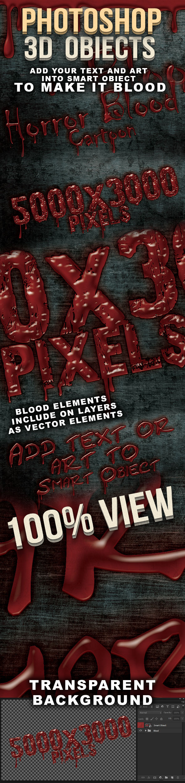 Blood 3D Photoshop Creator - Text Effects Actions