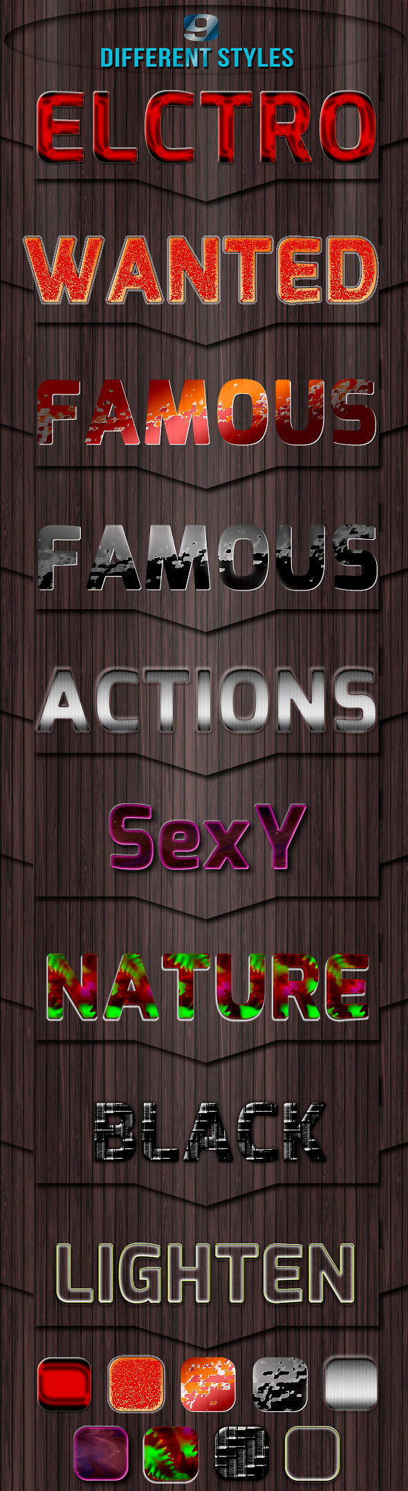 9 Different Styles - Text Effects Actions