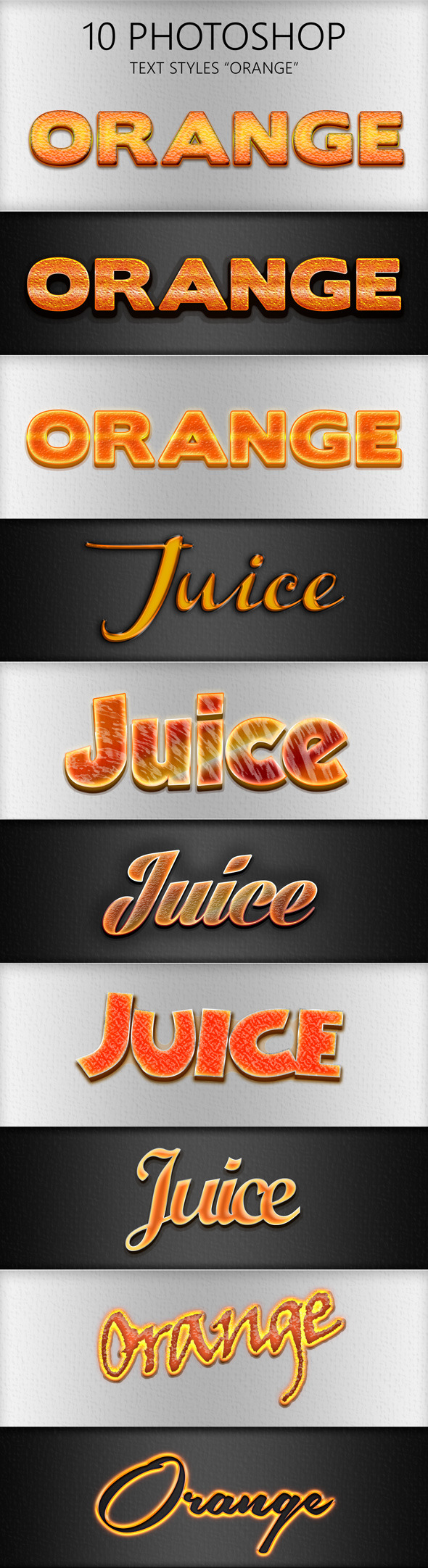 10 Orange Photoshop Styles - Text Effects Styles
