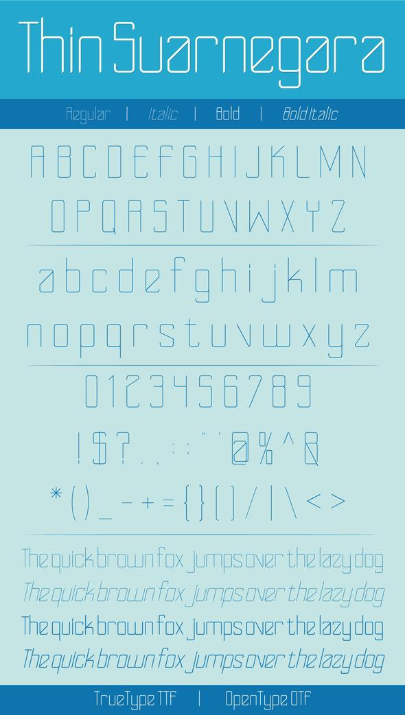 Thin Suarnegara Font - Sans-Serif Fonts
