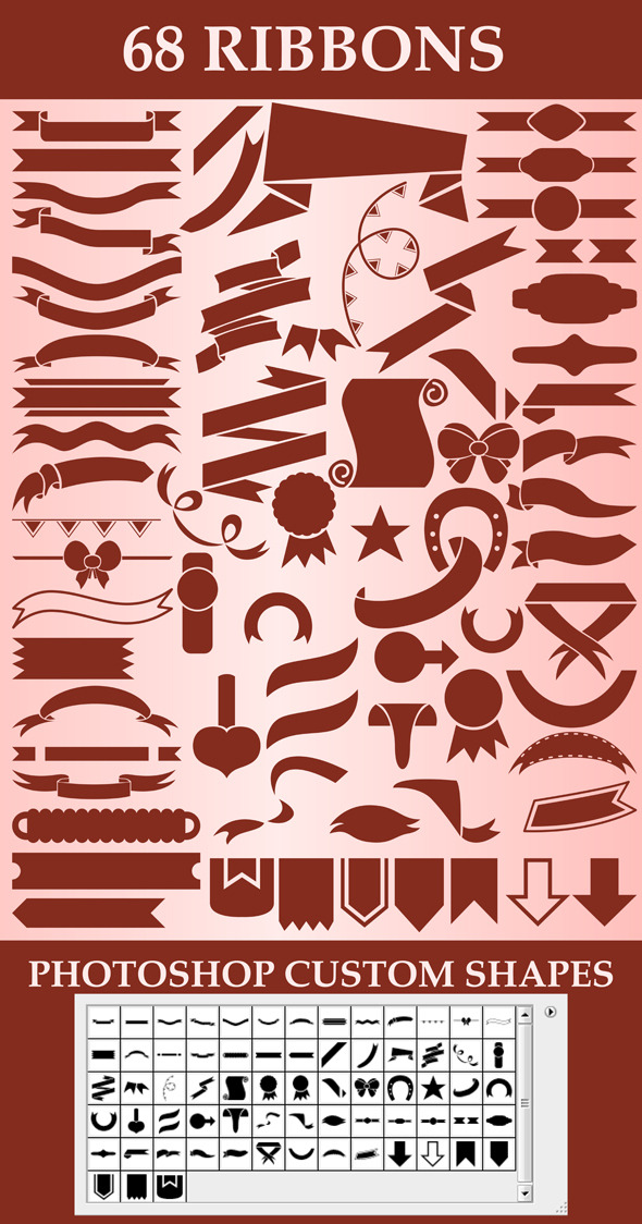 Ribbons custom shapes - Symbols Shapes