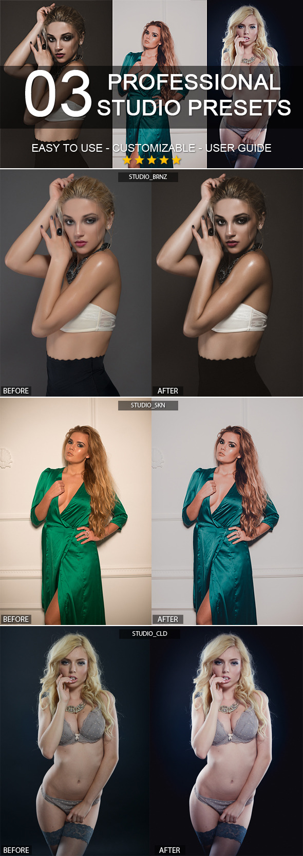 3 professional studio presets - Portrait Lightroom Presets