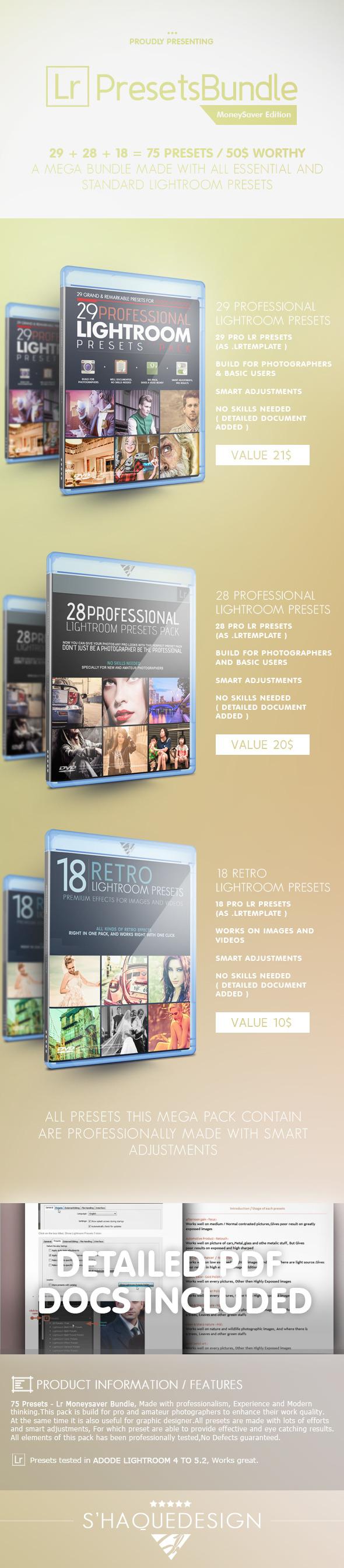 75 Pro Presets - Mega Lr Presets Bundle - Portrait Lightroom Presets