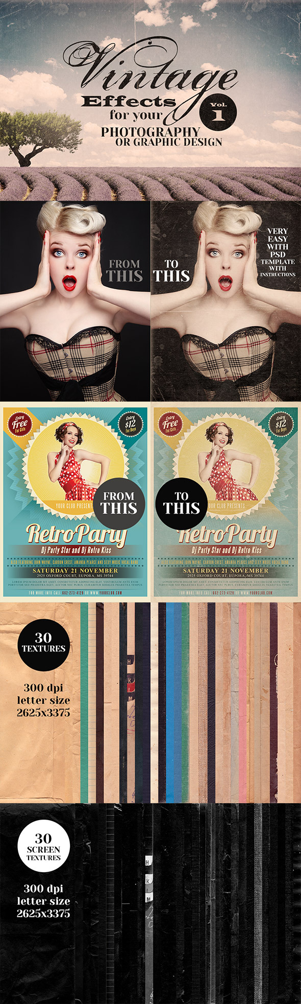 Vintage Effects for Photo or Designs - Textures / Fills / Patterns Photoshop