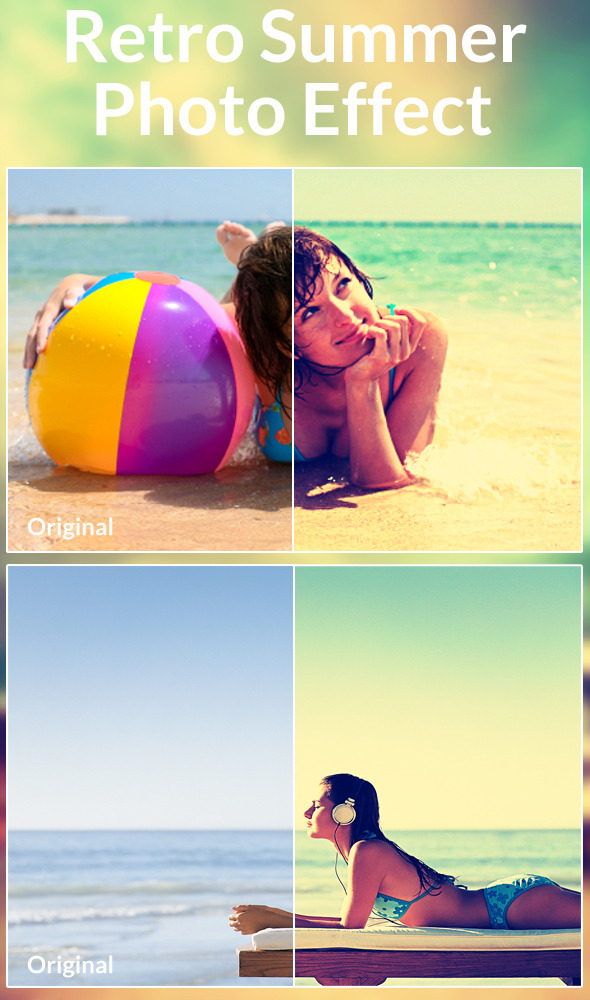 Retro Summer Photo Effect - Actions Photoshop