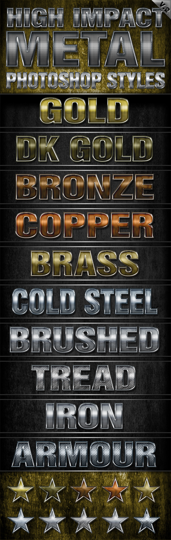 High Impact Metal Photoshop Styles-V2 - Text Effects Styles