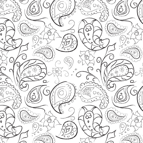 Seamless Hand Drawn Paisley Pattern - Miscellaneous Textures / Fills / Patterns