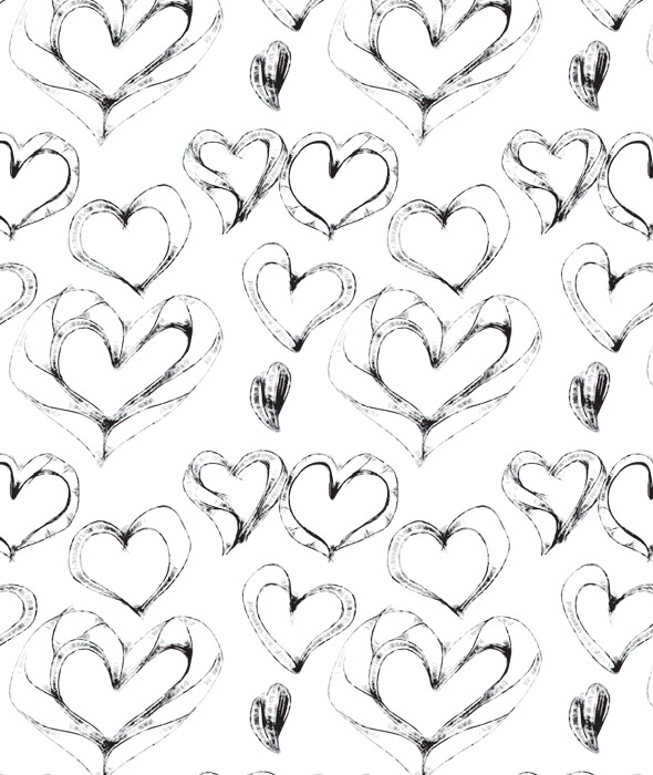 Hand Drawn Sketchy Heart Seamless Pattern - Artistic Textures / Fills / Patterns