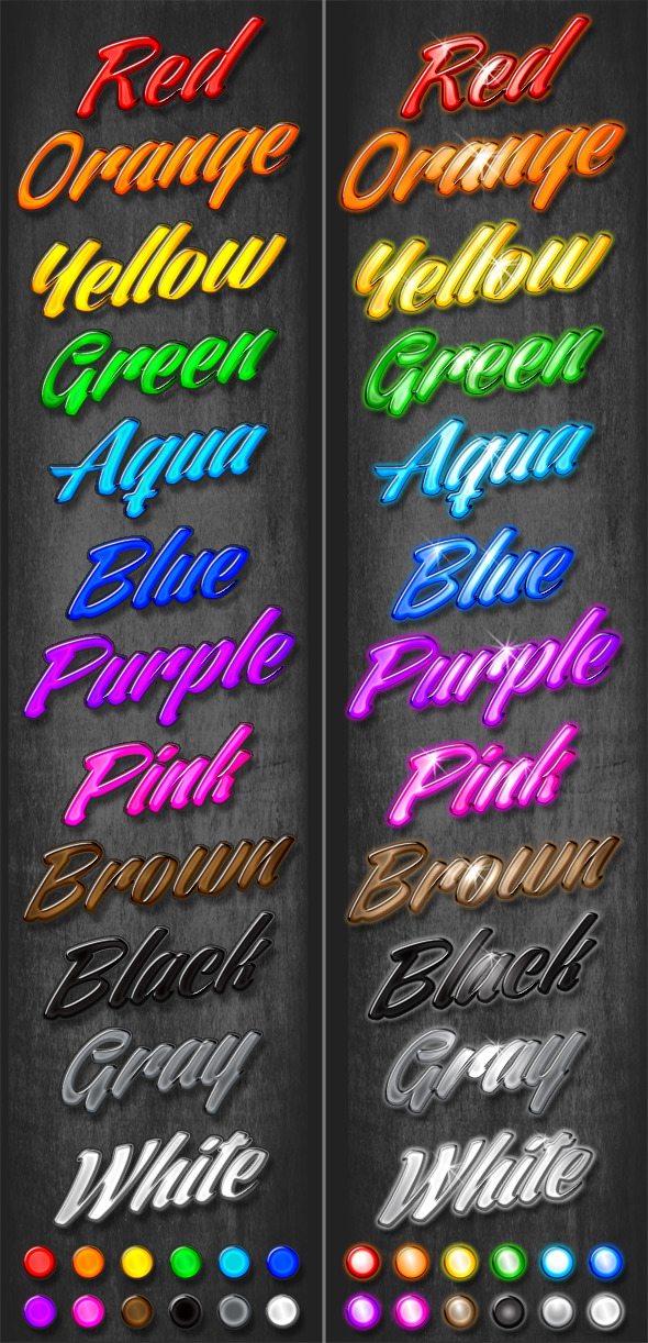 24 Colorful Beveled Styles - Text Effects Styles