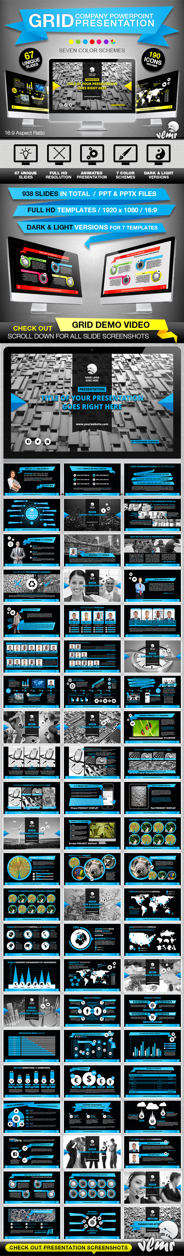 Grid Company PowerPoint Presentation Template - Business PowerPoint Templates