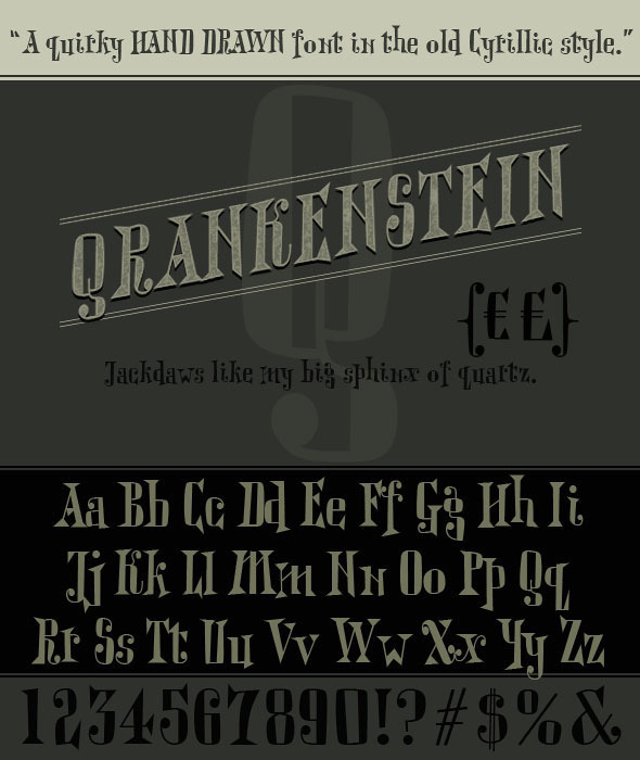 Qrankenstein. Hand Drawn Cyrillic Serif Font - Decorative Fonts