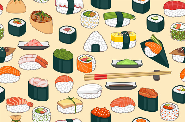 Sushi Seamless Background - Textures / Fills / Patterns Illustrator
