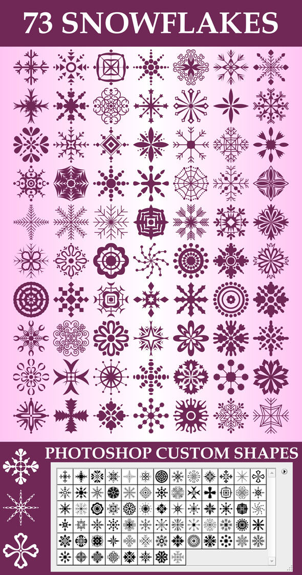 Snowflakes Custom Shapes - Miscellaneous Shapes