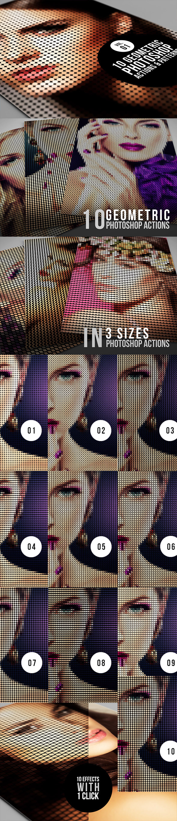 10 Geometric Photoshop Actions 01 - Photo Effects Actions