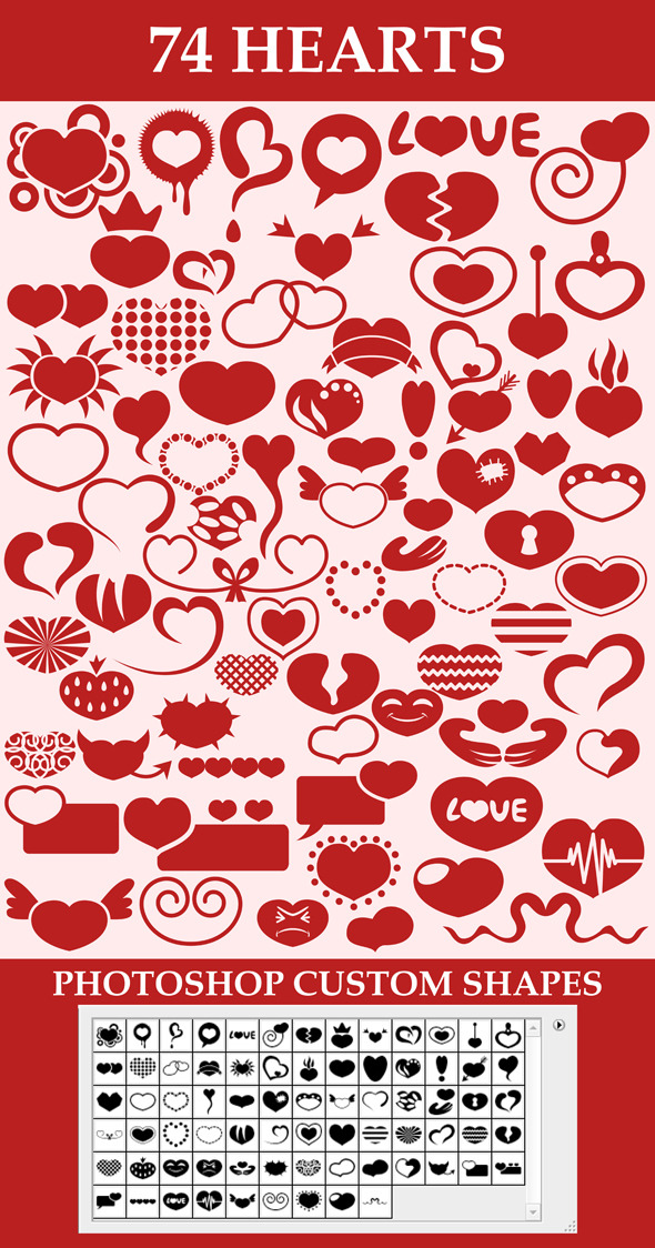 Hearts custom shapes - Symbols Shapes