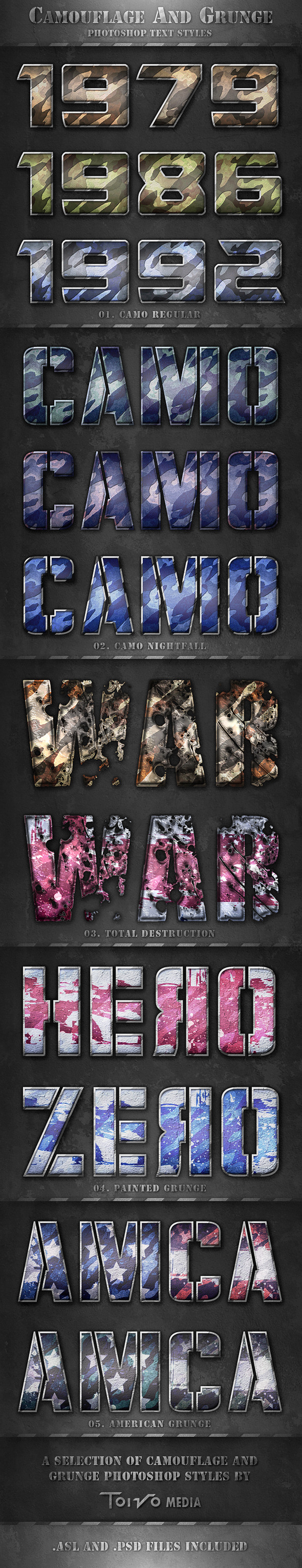 Camouflage and Grunge Text Styles - Text Effects Styles