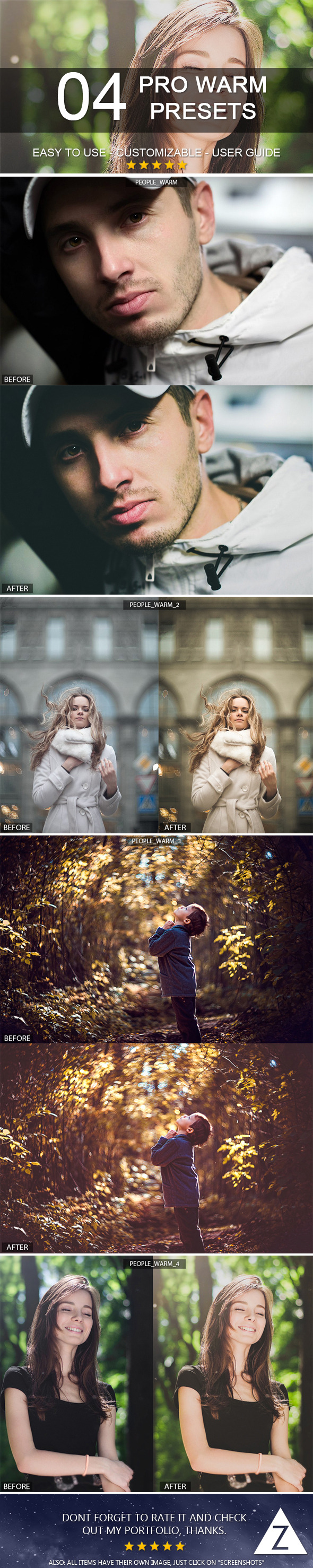 4 Warm Presets - Portrait Lightroom Presets