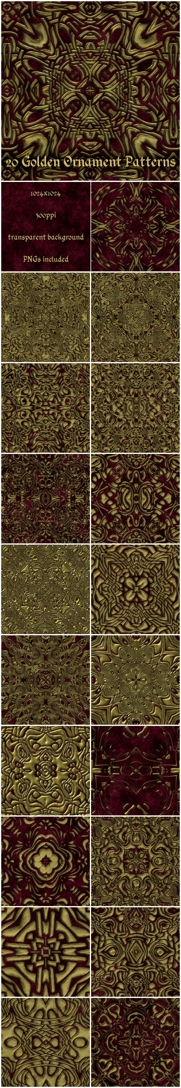 20 Gold Ornament Patterns - Miscellaneous Textures / Fills / Patterns