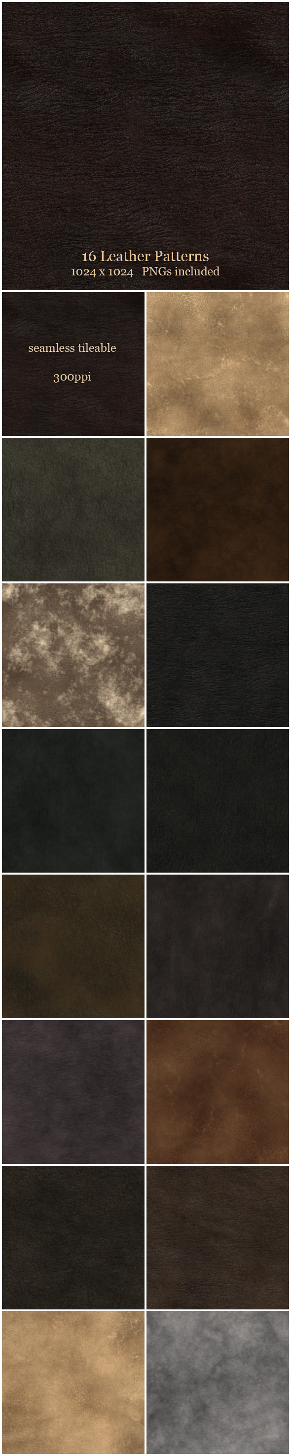 16 Leather Patterns - Miscellaneous Textures / Fills / Patterns