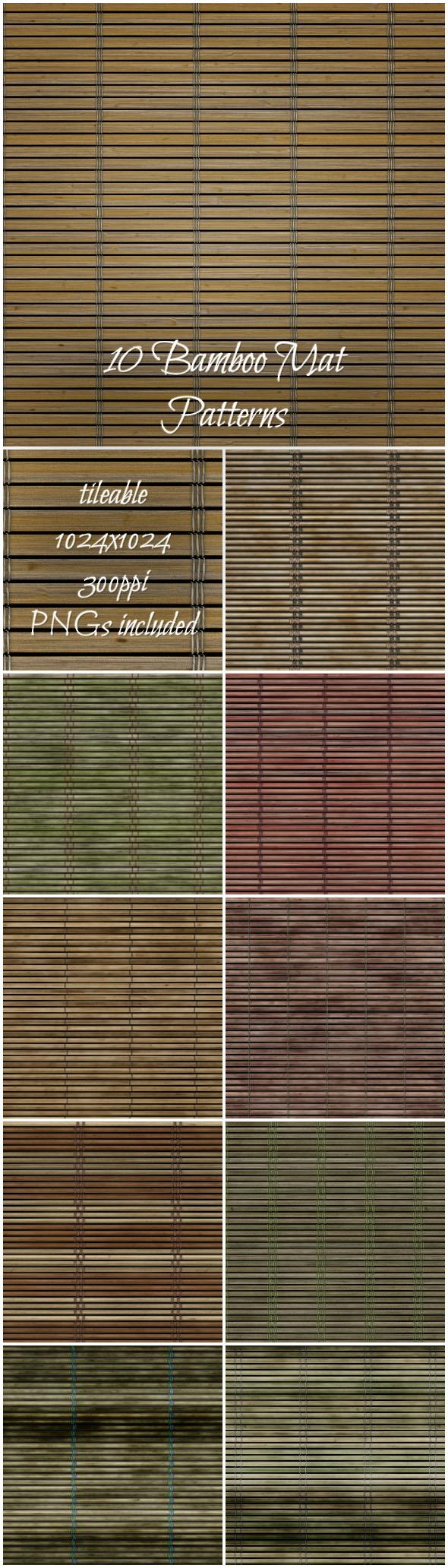 10 Bamboo Mat Patterns - Nature Textures / Fills / Patterns