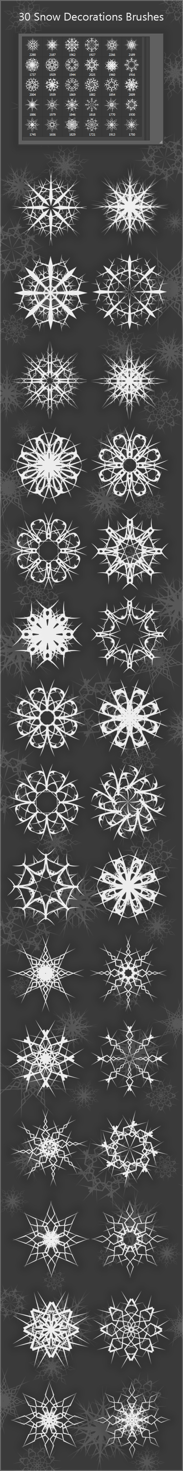 30 Snow Decorations Brushes (2000px) - Brushes Photoshop