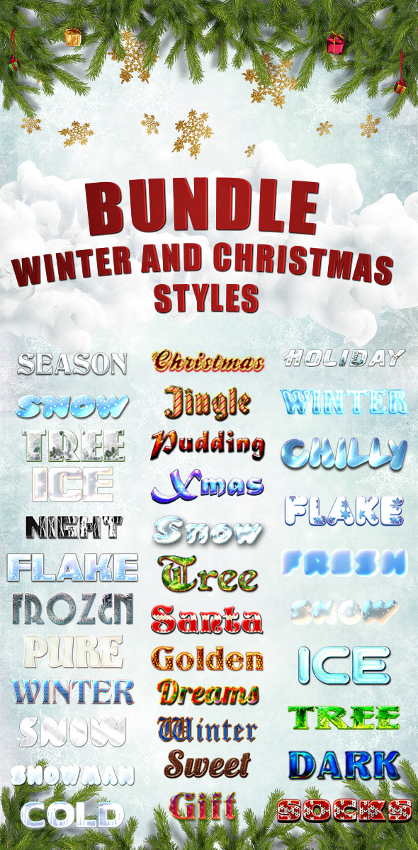 Bundle Winter and Christmas Styles - Text Effects Styles
