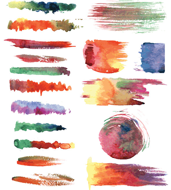 Set of Vector Watercolor Brushes - Artistic Brushes