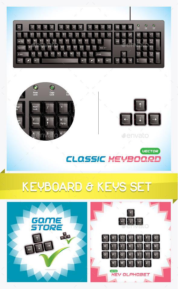 3D Classic Keyboard & Keys Set - Miscellaneous Conceptual