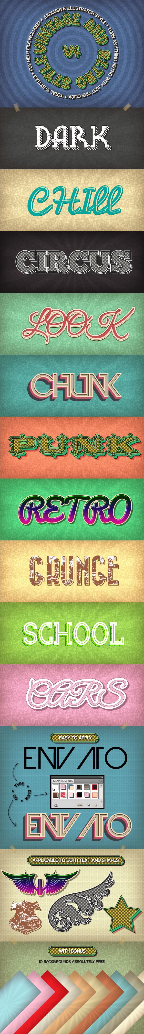 Vintage and Retro Styles V4 - Styles Illustrator