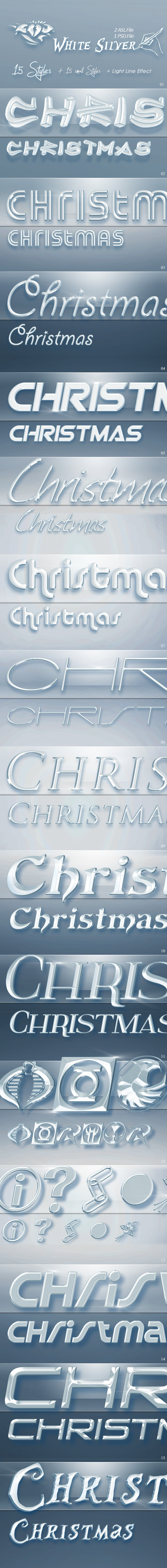15 White Silver Text Styles for Photoshop (Christm - Text Effects Styles