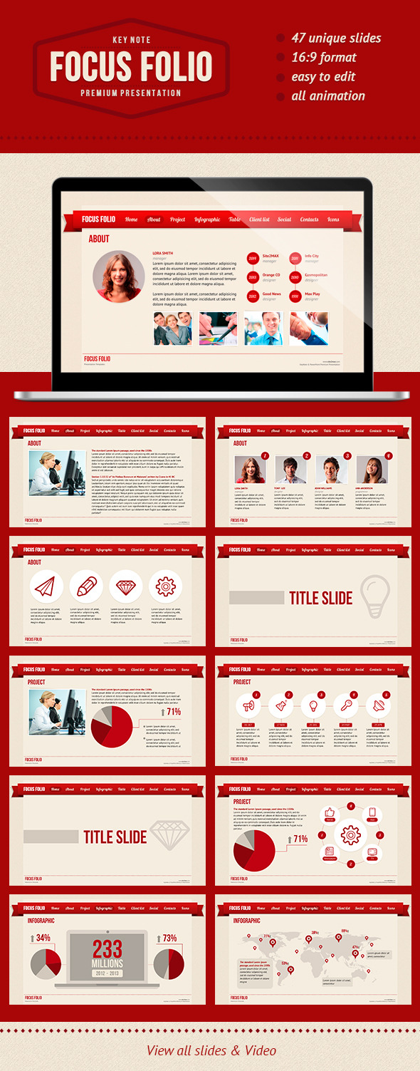 FocusFolio KeyNote red  - Keynote Templates Presentation Templates