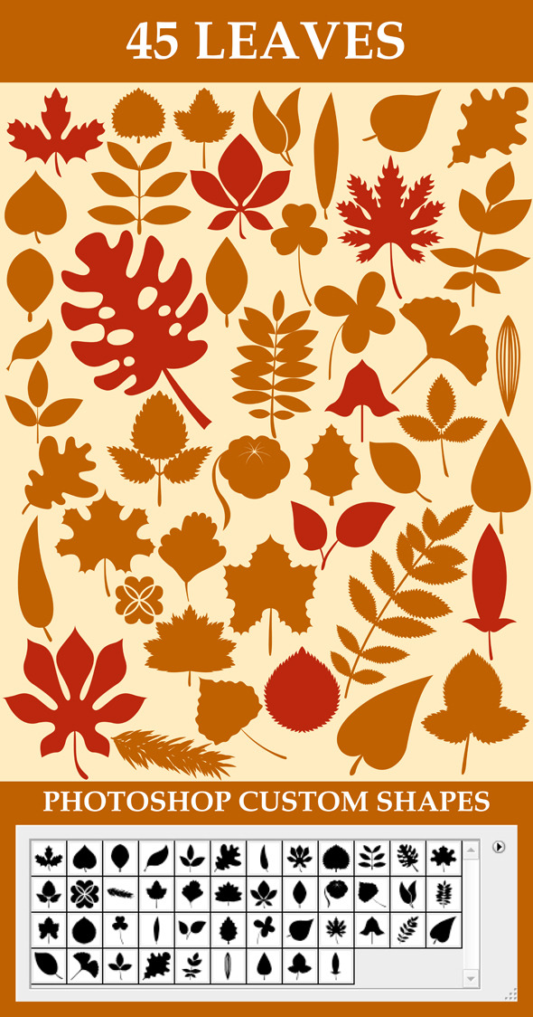 Leaves Custom Shapes - Miscellaneous Brushes