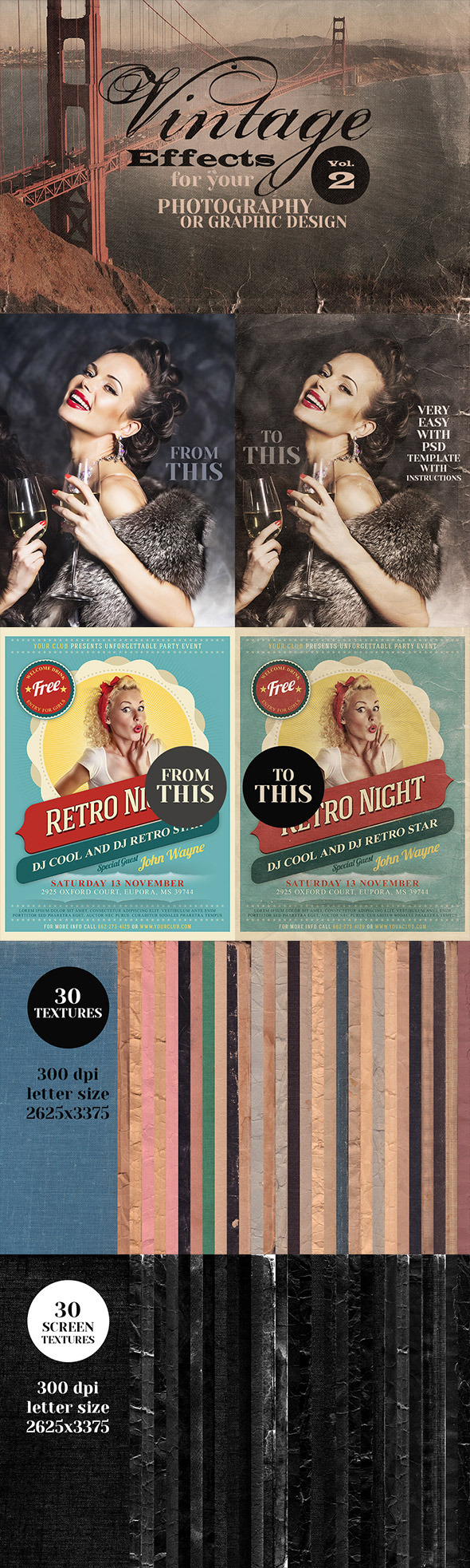 Vintage Effects for Photo or Designs vol.2 - Textures / Fills / Patterns Photoshop