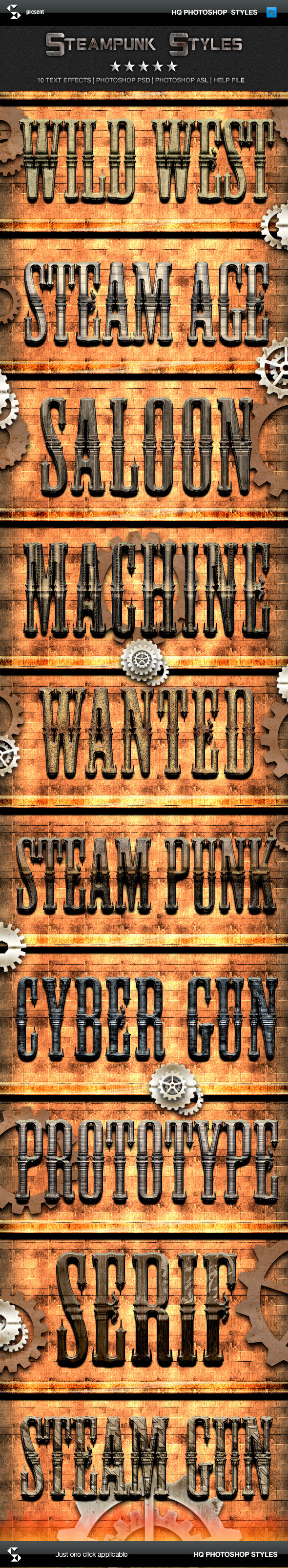 Action Fantasy Styles - Steampunk - Text Effects Styles