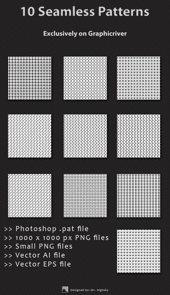 10 Small Background Seamless Patterns - Textures / Fills / Patterns Photoshop