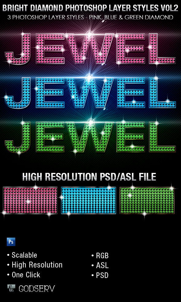 Bright Diamond Photoshop Layer Styles Vol 2 - Text Effects Styles