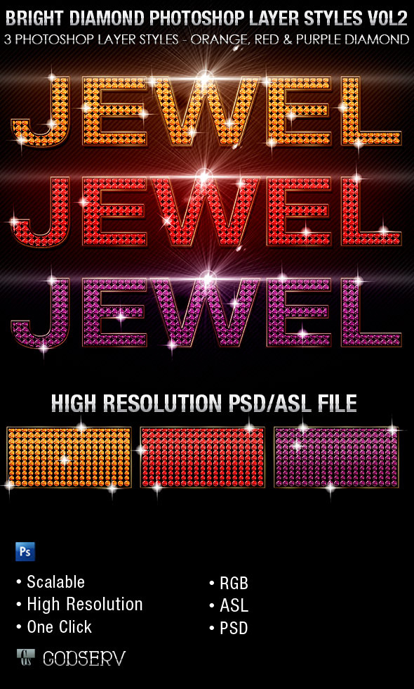Bright Diamond Photoshop Layer Styles Vol 3 - Text Effects Styles