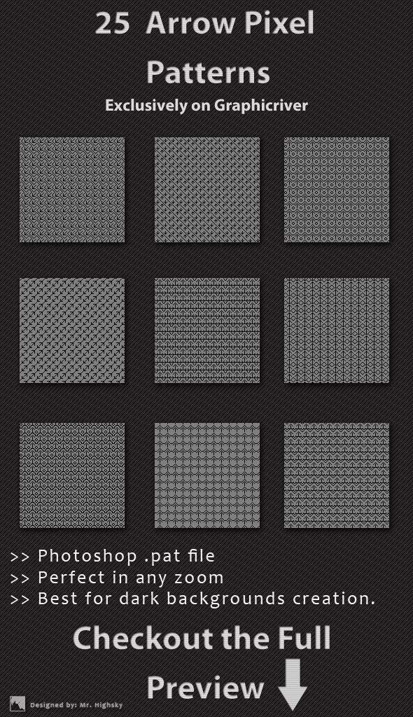 25 Arrow Pixel Patterns - Textures / Fills / Patterns Photoshop