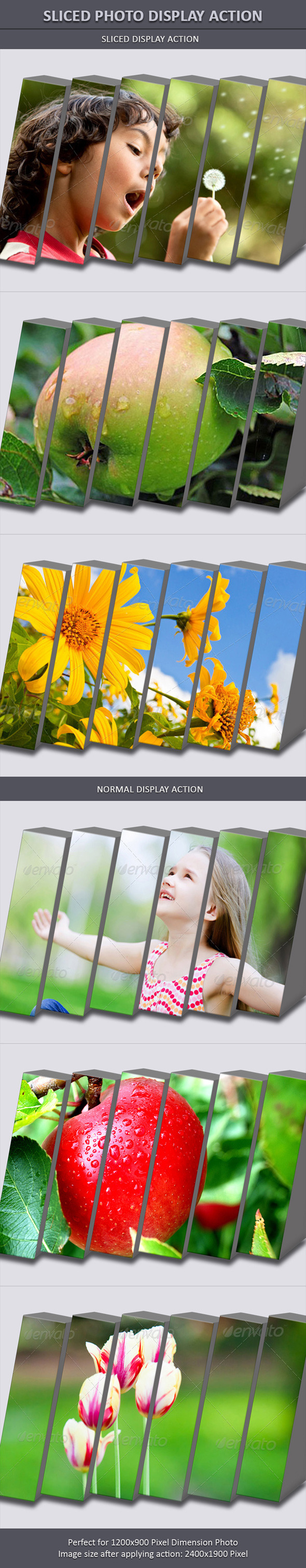 Sliced Photo Display Action - Photo Effects Actions