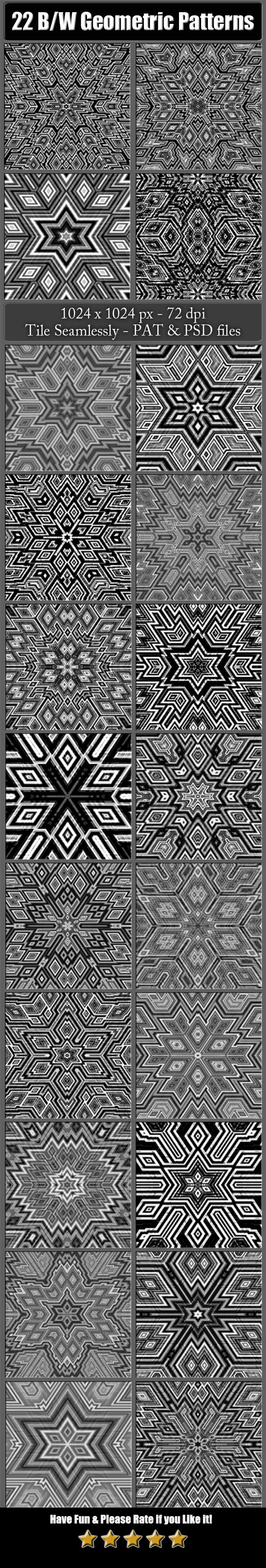 22 B&W Geometric Patterns - Miscellaneous Textures / Fills / Patterns