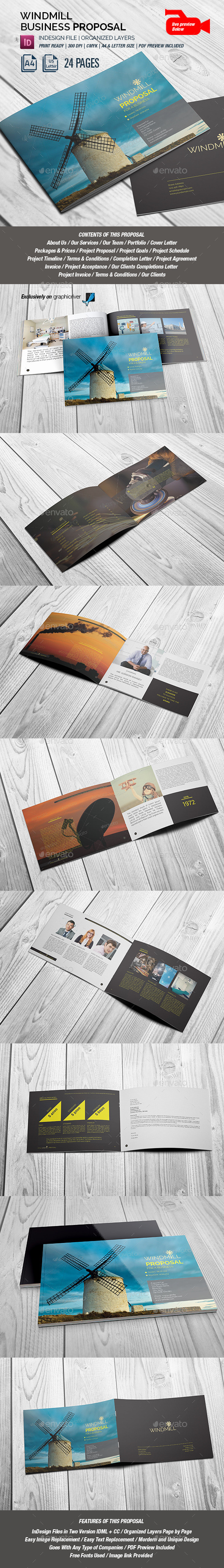 Windmill Multipurpose Lanscape Proposal - Proposals & Invoices Stationery