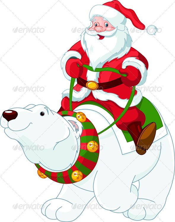 Santa Claus riding on polar bear - Christmas Seasons/Holidays