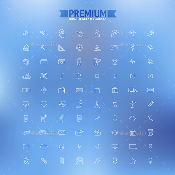 Set of Simple Line Icons - Technology Icons